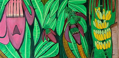 Poster featuring the painting The Magic Of Banana Blossoms by Lorna Maza