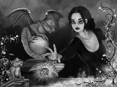 The Magic Rose - Black And White Fantasy Art Poster
