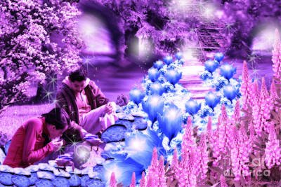 The Magic Water Flower Path Purple Poster