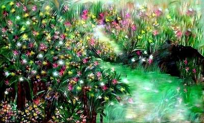Poster featuring the painting The Magical Garden by Sherri  Of Palm Springs