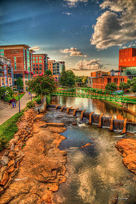 The Main Attraction 2 Reedy River Downtown  Greenville South Carolina Art Poster