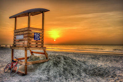 The Main Attraction Tybee Island Sunrise Lifeguard Stand Beach Art Poster