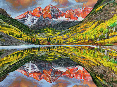 Poster featuring the painting The Maroon Bells  by Aaron Spong