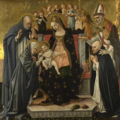 The Marriage Of Saint Catherine Of Siena Poster by Lorenzo dAlessandro da Sanseverino