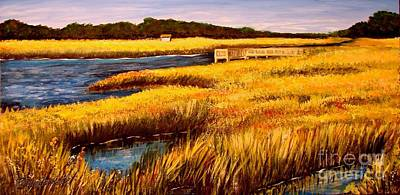 Poster featuring the painting The Marsh At Cherry Grove Myrtle Beach South Carolina by Patricia L Davidson
