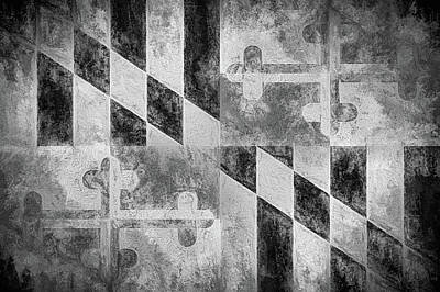 The Maryland Flag In Black And White Poster by JC Findley