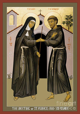 The Meeting Of Sts. Francis And Clare - Rlfac Poster by Br Robert Lentz OFM