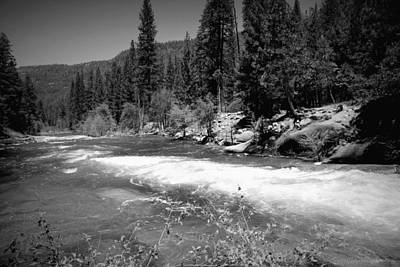 The Merced River At Yosemite Black And White Poster
