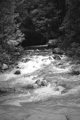 The Merced River At Yosemite Two B And W Poster