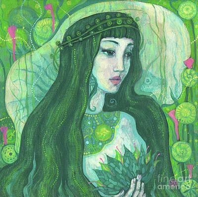 The Mermaid, Acrylic Painting, Fantasy Art Poster by Julia Khoroshikh