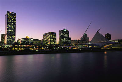 The Milwaukee Skyline At Twilight Poster by Medford Taylor