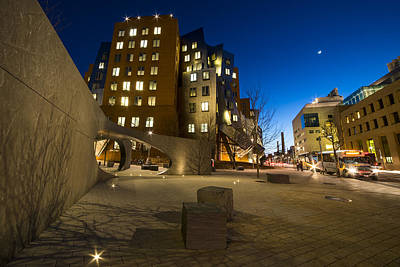 The Mit Stata Center At Night Kendall Square Cambirdge Ma Moonm2 Poster by Toby McGuire