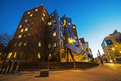 The Mit Stata Center At Night Kendall Square Cambirdge Ma Poster by Toby McGuire