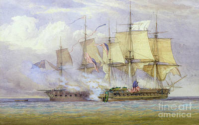 The Moment Of Victory Between Hms Shannon And The American Ship Chesapeake On 1st June 1813 Poster