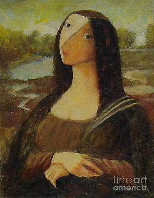 Poster featuring the painting The Mona Lisa Next Door by Glenn Quist