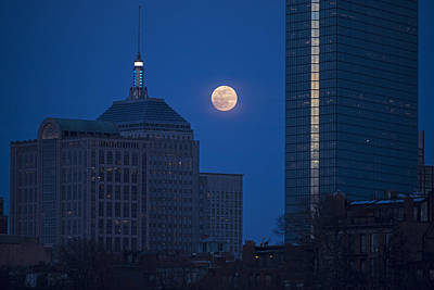 The Moon Rising Over Boston Poster