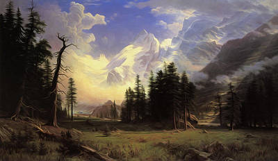 The Morteratsch Glacier Upper Engadine Valley Pontresina Poster by Albert Bierstadt