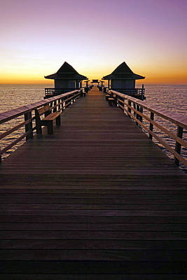The Naples Pier At Twilight Poster
