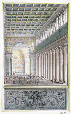 The Nave, Apse, And Crossing Of A Cathedral For Berlin Poster by Karl Friedrich Schinkel