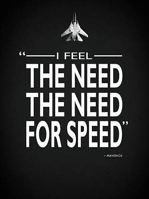 The Need For Speed Poster by Mark Rogan