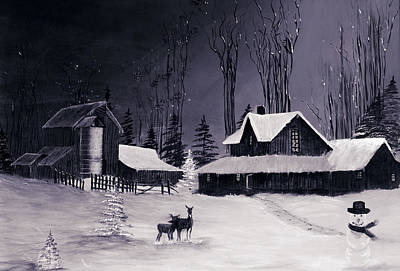 The Night Before Christmas Silvertoned Poster by Diane Schuster