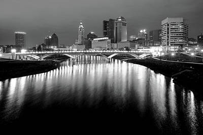 The Night Lights Of Columbus Ohio's Skyline Reflections Poster by Gregory Ballos