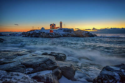 The Nubble In Winter Poster by Rick Berk