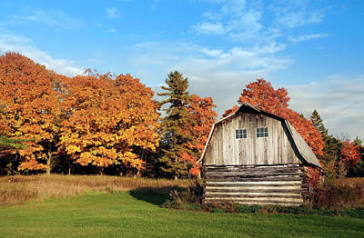 The Old Barn In Autumn Poster