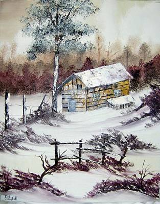 The Old Barn In Winter Poster