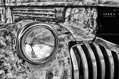 The Old Chevy Truck Black And White Poster by JC Findley