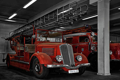 The Old Fire Trucks Poster