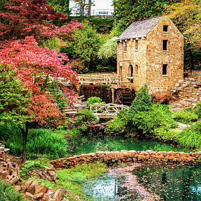 The Old Mill In Spring - Pughs Mill - North Little Rock Poster by Gregory Ballos