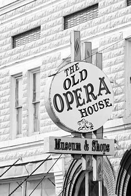 The Old Opera House Sign Bw Arcadia Florida Usa Poster by Sally Rockefeller