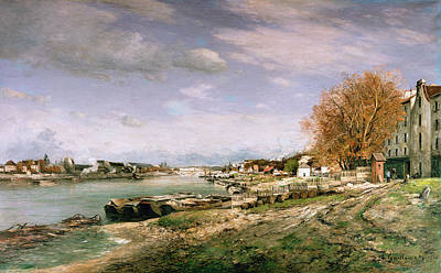 The Old Quay At Bercy Poster by Jean Baptiste Armand Guillaumin