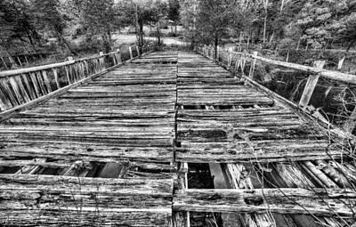 The Old Wooden Bridge In Black And White Poster
