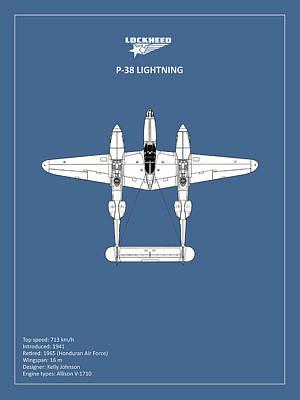 The P-38 Lightning Poster by Mark Rogan