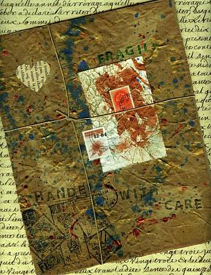Poster featuring the mixed media The Package by P J Lewis