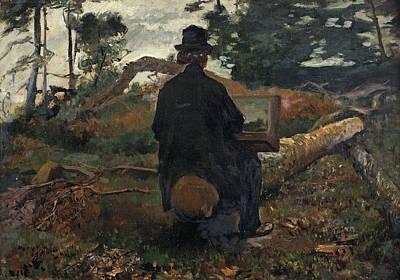 The Painter Frederik Hendrik Kaemmerer At Work In Oosterbeek Poster