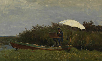 The Painter Gabriel Working In A Boat Poster by Willem Bastiaan Tholen