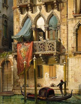The Palazzo Contarini In Venice Poster by Friedrich Nerly
