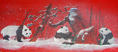 Poster featuring the painting The Pandas Come On Red by Debbi Saccomanno Chan