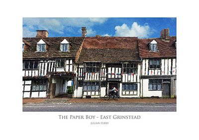 Poster featuring the digital art The Paper Boy - East Grinstead by Julian Perry