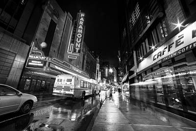 The Paramount On A Rainy Night Boston Ma Bus Black And White Poster by Toby McGuire