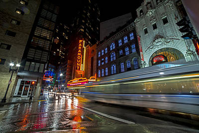 The Paramount On A Rainy Night Boston Ma Reflection Bus Poster by Toby McGuire