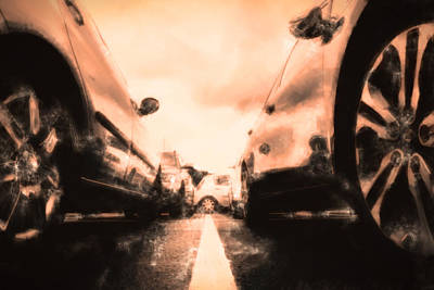 The Parkinglot Seen From The Ground In Oil Style Poster by Tommytechno Sweden