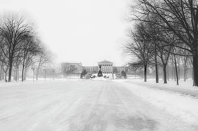 The Philadelphia Art Museum In A Winter Storm Poster by Bill Cannon