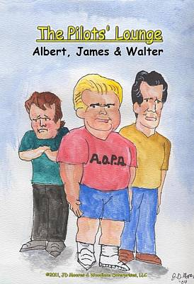The Pilots Lounge Cartoon Characters Poster