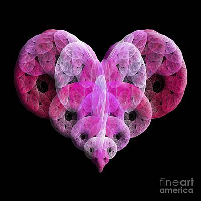 Poster featuring the digital art The Pink Heart by Andee Design