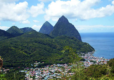 Poster featuring the photograph The Pitons, St. Lucia by Kurt Van Wagner