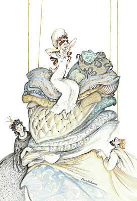 The Princess And The Pea, Illustration For Classic Fairy Tale Poster by Elena Abdulaeva
